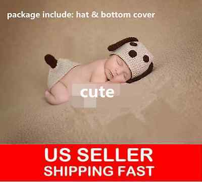 Newborn Baby Photography Photo Props Boy Girl Costume Outfits Doggy Hat Pant 538