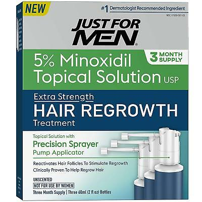 Just for Men Minoxidil 5% Extra Strength Hair Loss Treatment 6oz -3 Month Supply