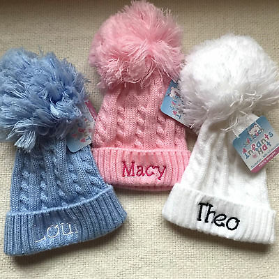 Personalised embroidered 1 pom pom Baby Girls Boys Hat 0-12 month 12-24 months