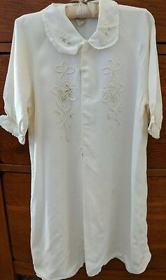 Antique Vintage Christening Baby Girl Gown Dress Embroidered Flowers Lace Collar