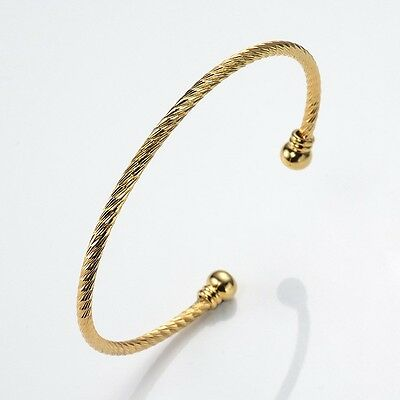 Women Open Bangle 18k Yellow Gold Filled Bracelet Fashion Jewelry Lovely Gift