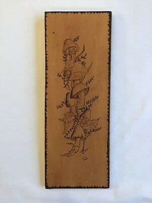 Vintage Pyrography Burned Wood Art of Mushrooms Artist signed best. period 1970s