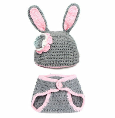 Newborn Infant Baby Crochet Knit Photo Photography Costume Prop Bunny Set 541