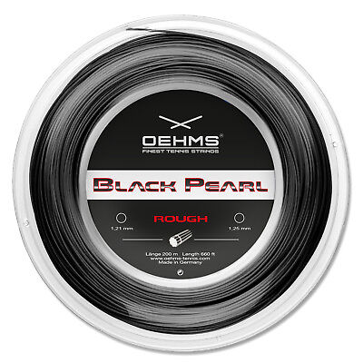 "OEHMS ""BLACK PEARL ROUGH"" Co-Polyester Tennis String, Gauge 1.23mm/660ft"