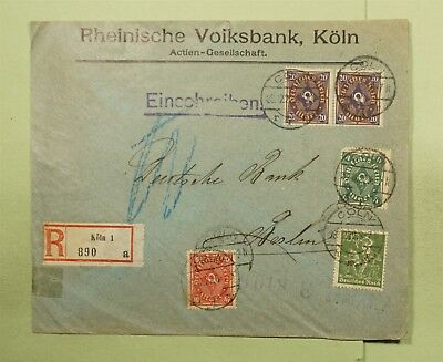 DR WHO 1922 GERMANY KOLN REGISTERED TO BERLIN  d80248