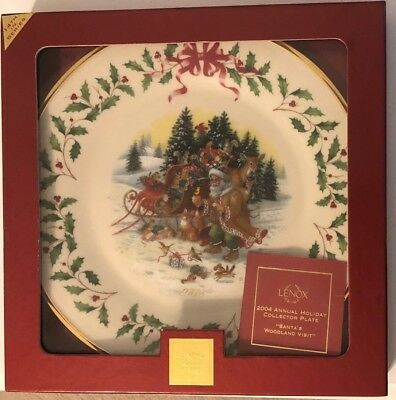 *NEW IN BOX* Lenox Annual Christmas Holiday Plate 2004 Santa's Woodland No F506