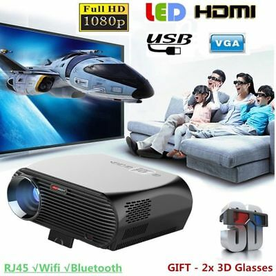 LED Android 4K 3D WiFi Home Cinema HD1080P LCD Theater Projector HDMI VGA RJ45