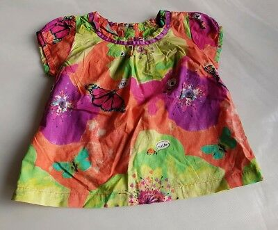 Marks & Spencer multi butterfly top orange green pink age 12-18 months