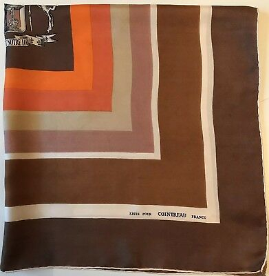 Rare Vintage Geometric Edite Pour Cointreau France Silk Print Hand Rolled Scarf
