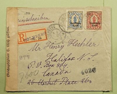 DR WHO 1920 GERMANY OVERPRINT COLMBERG REGISTERED TO CANADA CENSORED  d80331