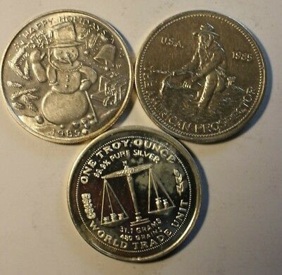 Lot of 3 Cull Silver Rounds .999 Fine 1 oz 001