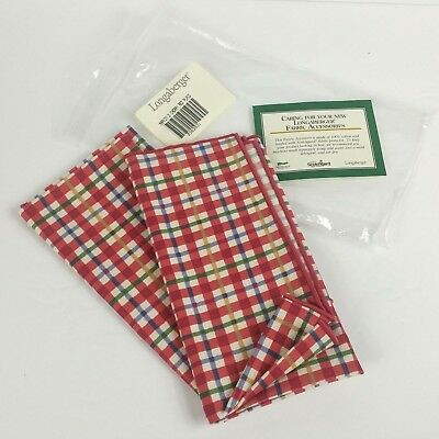 Longaberger Napkins Original Package Set of 2 Cherry Red Plaid 2363931