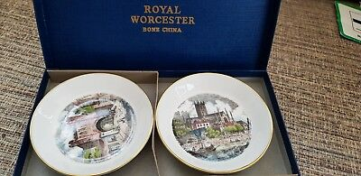 Boxed Pair Of Royal Worcester Fine Bone China Small Plates Vintage Plates