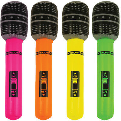 Inflatable Neon Microphone - Disco Party Karaoke Blow Up Microphone  UK Stockist