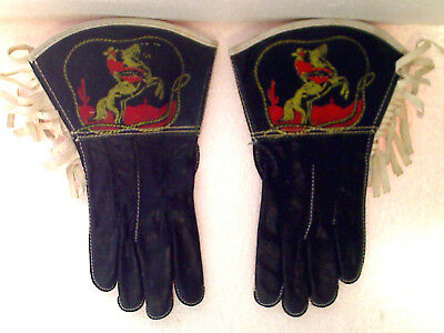 Vintage 1950's-60's Kid's Western Cowboy Real Leather Decorated Gloves Medium