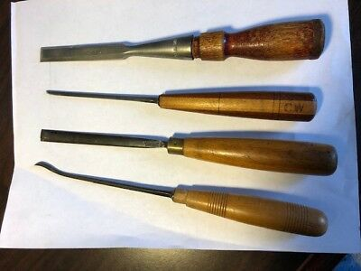 4 Vintage Wood Carving Chisels (Marples #21 & #3, 1 Stanley and 1 unmarked)
