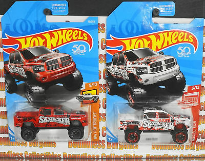 Hot Wheels Lot Of 2 Dodge Ram 1500 Target Red Edition Exclusive Skyjacker White