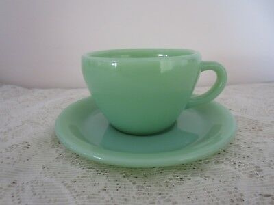 Vin tage Fire King Jadeite Restaurant Ware Coffee Cup and Saucer - MINT