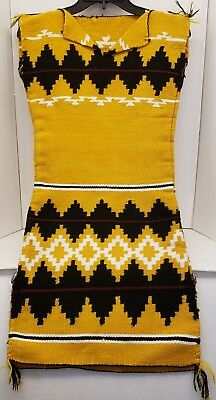Vintage Native American~Navajo Hand Woven Rug Design Wool Biil Dress~Euc