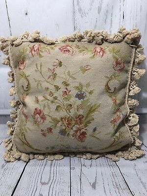 """Vintage 18"""" Wool Needlepoint Pillow Tassels Roses Shabby Cottage Decor Victorian"""