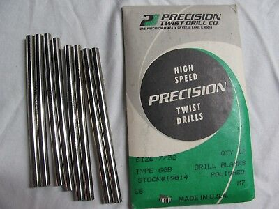 PRECISION TWIST DRILL CO. set of 8 Polished Drill Blanks, size 7/32, type 60B
