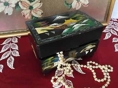 Gorgeous Vintage 1930s Japanese Lacquer Musical Jewellery Box#5241