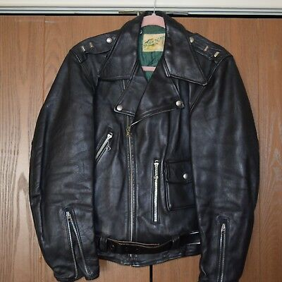 Vintage 1950's Front Quarter Horsehide Leather Motorcycle Jacket - EXCELLENT