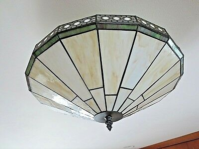"Spectrum Tiffany Style Leaded Slag  Semi Flush Mount Ceiling Light 16"" Wide"
