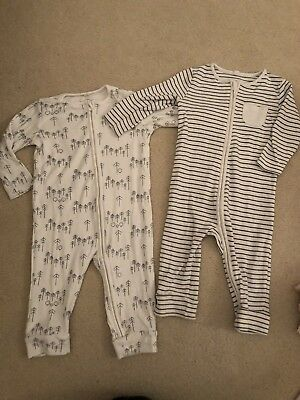 2 x Baby Mori 9-12 Month Unisex Zip Up Sleepsuits Stripe and Forest