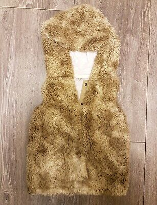 Girls Brown Bodywarmer Gilet From Next Age 5 With Poppers Winter Coat Hooded