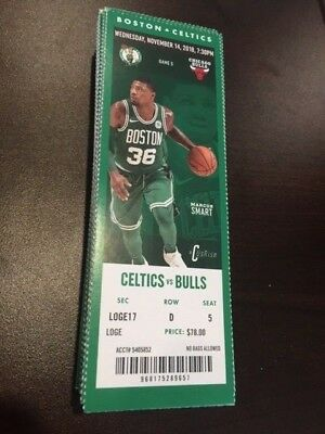Boston Celtics Chicago Bulls MINT Season Ticket 11/14/18 2018 NBA Stub