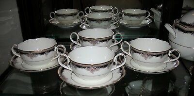 Noritake Palais Royal Set Of 8 Handled Cream Soup Cups & Saucers, Rare Htf Mint!