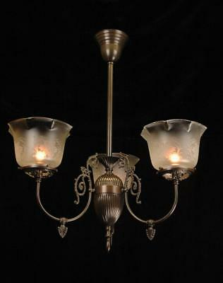 Victorian Ornate 3 Arm Oiled Bronze Gas Style Etched Glass Chandelier