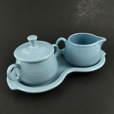 Fiesta Periwinkle Blue Creamer and Sugar Underplate Set of 4 Pcs. Lidded Ceramic