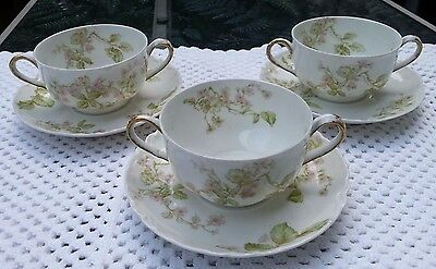Haviland Limoges Double Handle Cup & Saucer Lilac Cherry Blossom Set of 3