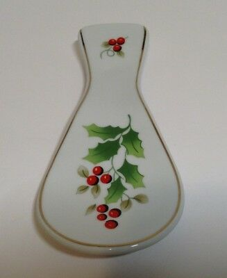 "Royal Norfolk Holly Berry Spoon Rest 8""L Ceramic Porcelain"