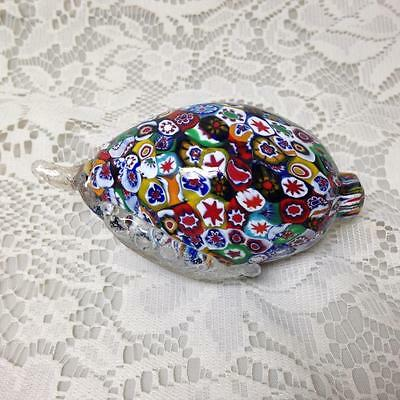 Vintage, Art Glass, Millefiori, Figural Lemon Paperweight 2.5in x 4.5in x 2.25in