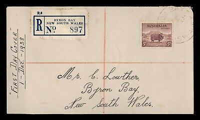 DR WHO 1938 AUSTRALIA FDC SHEEP ANIMAL BYRON BAY REGISTERED  d86747