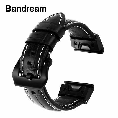Easy Fit Genuine Leather Watchband for  Fenix 5X/5X Plus/3/3HR Croco Watch Ba...