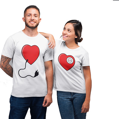 PLUG IN TO MY HEART | Funny couple T-shirt | Valentines Day Present |