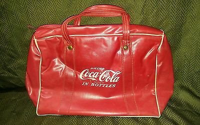 Vtg Coke Drink Coca Cola In Bottles Red W/ White 14In Cooler Carrying Hand Bag