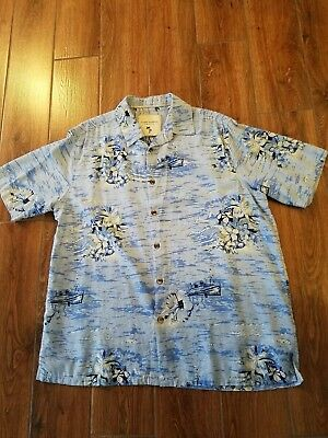 Island Republic 100%Silk XL Blue Hawaiian Camp Aloha Shirt