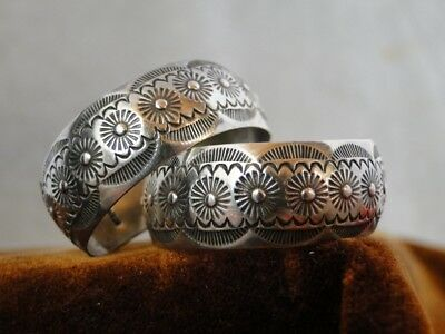 Vintage Native American STERLING NAVAJO Tribal STAMPED WIDE Silver HOOP EARRINGS