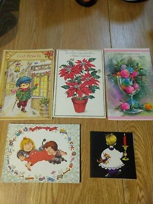 Vintage Christmas Card Unused lot of 5 cards  poinsettia, ornaments, children