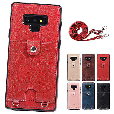 Leather Shoulder Cross-body Strap Card Holder Back Case Fr Galaxy S7/S8/S9/Note9