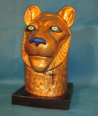 "Lion Bust from King Tut Tutankhamun Exhibit 1977...15.5"" Tall, Perfect"