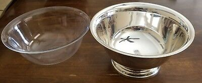 """Vintage WALLACE Silverplate Paul Revere Bowl 6/"""" Made in USA with Liner"""