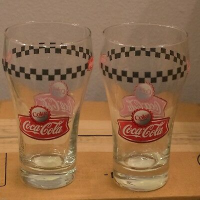 2 RARE Coca-Cola RETRO BLACK CHECKERED Bell Glasses Tumblers by GIBSON NEW MINT