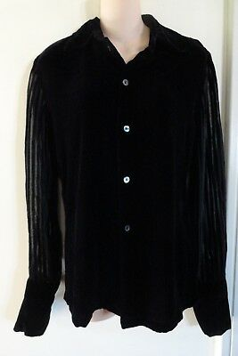 cd3c522c8ecf0 Silk Velvet Button Front Shirt With Sheer Striped Sleeve By Equipment Sz M