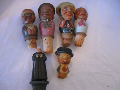 Vintage Six carved painted wooden cork bottle stoppers